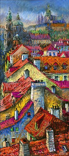 Inspiration = cityscape view created using oil pastels, rough application used…