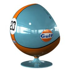 Racing & Emotion 917 LM20 Gulf Art Ball Chair  Art Ball 917 LM20 GULF inspired by the Porsche 917 from the movie Le Mans featuring Steve McQueen.  Member Price: $5,785.00