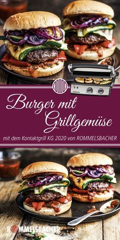 Kontaktgrills - Grills, Raclettes & Co. Burger Co, Picky Eaters, Diy Food, Bruschetta, Salmon Burgers, Bon Appetit, Summer Recipes, Grilling, Sandwiches