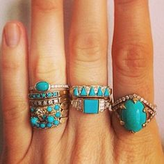 Mociun; rose gold and turquoise rings