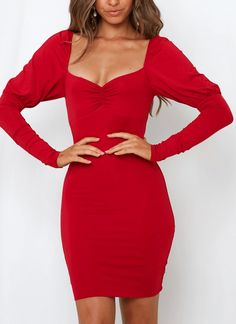 Red Long Sleeve Ruched Sweetheart Bust Bodycon Mini Dress. Women's Sexy Red Long Sleeve Bodycon Mini Party Dress.     #Fashion #LookBook #OutfitOfTheDay #LookOfTheDay  #Fashionable #Fashionista #FashionStylist Red Fashion, Fashion Dresses, Plus Size Bodycon Dresses, Mini Dresses, Little Red Dress, Dress Red, Bodycon Fashion, Long Sleeve Shirt Dress, Dance Dresses