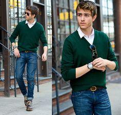 Similar Here  > Green Sweater, Aviators, Similar Here  > Denim, Dr. Martens Doc - Simple & Sophisticated  - Adam Gallagher