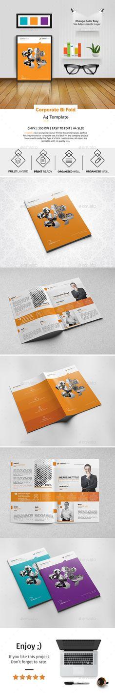 Corporate Bi-fold Brochure Template PSD. Download here: http://graphicriver.net/item/corporate-bifold-brochure-template-01/16409444?ref=ksioks
