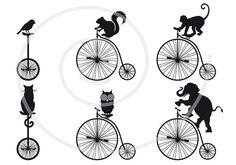 Cat, owl, bird, chipmunk, elephant, monkey with old vintage bicycle and mono-cycle, unicycle, animal, digital clip art, clipart, printable. $5.00, via Etsy.