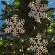 Glitter Snowflake ornaments / the chew  ****make names or initials to hang on stockings******  try using glitter puffy paint or slick  instead of hot glue....