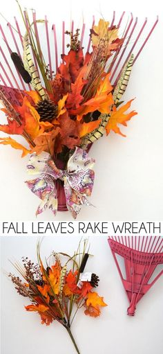 Fall Leaves Rake Wreath - a gorgeous #DIY to welcome guests to your #home this #autumn  #tutorial #handmade #craft