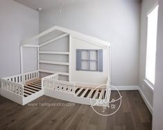 Solid Wood Twin / Twin Reading Nook Bed L Shaped Bed One of our favorites! This listing is for the first photo. It is the solid wood TWIN / TWIN reading bed. Our standard twin / toddler reading corner Toddler Reading Nooks, Girl Reading, Children Reading, Reading Room, Reading Areas, Girl Room, Girls Bedroom, Montessori Bed, Diy Zimmer