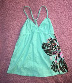 NWT $39 ROXY BOHO COTTON AQUA FLORAL Braided HALTER TOP Hippie Chic Coachella M  | eBay
