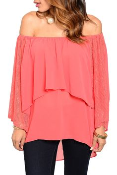 DHStyles Women's Orange Trendy Off Shoulder Sheer Chiffon Patterned Sleeves Ruffled Layered Top - Large #sexytops #clubclothes #sexydresses #fashionablesexydress #sexyshirts #sexyclothes #cocktaildresses #clubwear #cheapsexydresses #clubdresses #cheaptops #partytops #partydress #haltertops #cocktaildresses #partydresses #minidress #nightclubclothes #hotfashion #juniorsclothing #cocktaildress #glamclothing #sexytop #womensclothes #clubbingclothes #juniorsclothes #juniorclothes…