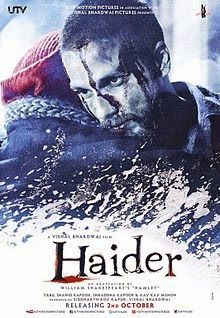 Haider is an upcoming Indian drama film directed by Vishal Bhardwaj, and written by Basharat Peer and Bhardwaj. It is an adaptation of William Shakespeare's Hamlet, and is set in Kashmir. The film stars Tabu, Shahid Kapoor as the eponymous protagonist, Shraddha Kapoor and Kay Kay Menon. Haider is the third installment of Bhardwaj's Shakespeare trilogy after Maqbool (2003) and Omkara (2006). The film is scheduled for release on 2 October 2014.