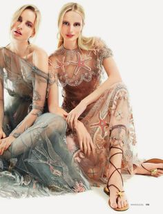 Call of Spring: Elise Aarnink & Maud Welze for Elle Russia February 2015 by Nikolay Biryukov - Valentino Spring 2015