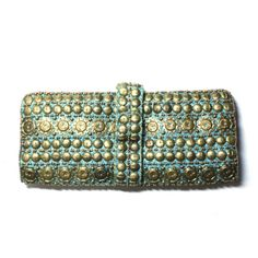 Gold clutch bag turquoise