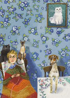 A fine art greeting card by painter Stephanie Lambourne, blank inside for your own message. Art And Illustration, Illustrations, Knitting Humor, Knit Art, Naive Art, Whimsical Art, Dog Art, Painting & Drawing, Flower Art