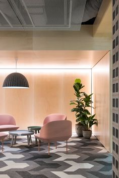 PEXA Offices - Melbourne. Breakout area. Collaboration. Lounge seating. Muuto. Bolon. Patterned floor