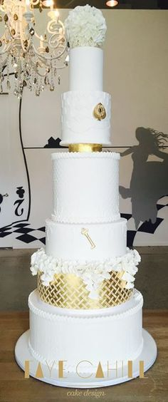 Faye Cahill Cake Design - White and gold wedding cake
