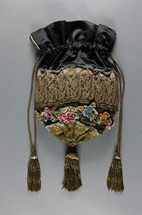 Woman's Bag    Made in United States  Early 20th century    Artist/maker unknown, American    Silk satin with gold lace, silk velvet, and silk tafffeta ribbon  9 x 9 1/2 inches (22.9 x 24.1 cm)