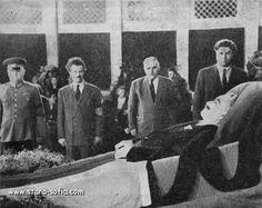 Members of the Politburo of the Central Committee of the Communist Party others. Valko Chervenkov Terpeshev, Anton Yugov Georgi Damyanov of the honor guard in front of the body of Georgi Dimitrov