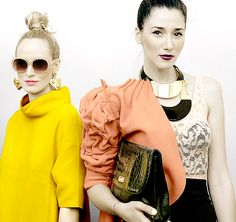 Yellow 60's, Top Knot, Statement Earrings