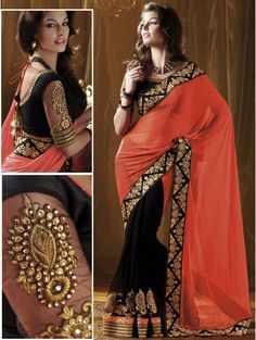saree . sheer sleeves. Orange and black