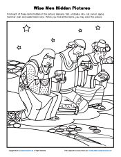 Wise Men Hidden Pictures Finding the hidden items in this picture of the wise men gives children a fun activity to do as they learn that the wise men worshiped Jesus. Kindergarten Sunday School, Kids Sunday School Lessons, Sunday School Activities, Sunday School Crafts, School Ideas, Kids Class, Bible Activities For Kids, Activity Sheets For Kids, Bible Crafts For Kids