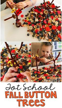 We LOVE this fall button tree sensory bin. Great for tot school, preschool, or even kindergarten!