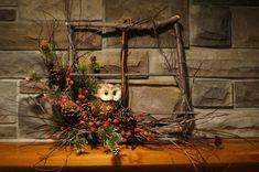 Eule-Dekor - Winter Kranz - Eule Herbstkranz - Kranz Tür Dekor - rustikale Dekor rustikal Tür Weihnachtskranz - Fenster Weihnachtskranz