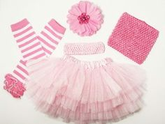 "Multi Layer Tutu Gift Set Includes: • 6 pieces • 1 - Pink Triple Layer Tutu • 1 pair- Pink and White Stripes Cotton Legwarmers with Ruffles • 1- 1.5"" Pink Crochet Headband • 1- 7"" Pink Designer Mum Hair Clip • Super soft tulle material $21.00  www.facebook.com/wicksnhoots"