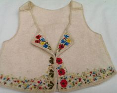 Felt Wool Vest with Needle Felted Flowers