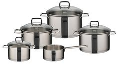 Elo Straight Line Stainless Steel 9-Piece Cookware Set With Energy Saving Encapsulated Bottom, Integrated Measuring Scale, Oven Proof, and Induction Ready ** Find out more details by clicking the image : Cookware Sets