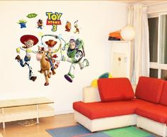 Toy Story Wall StickerThis sticker is perfectly safe on wallsIt will not peel or mark wallsThis comes on a sheet size 60cm x 90cmThese can be place on the wall however you would like them. All characters are individual pieces.