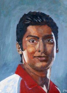 Kumar Sangakkara, cricket, Sri Lanka, acrylic on paper