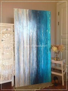 Абстракция Панорама Бирюзовый Индиго 160/80 - купить или заказать в интернет-магазине на Ярмарке Мастеров | Большая и современная картина! Техника нанесения…