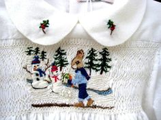 Hand Smocked Hand Embroidered Girls Dress Size by rabbitwhiskers, $190.00