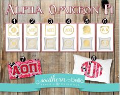 Alpha Omicron Pi * Pillows, License Plates and Pillow Cases! Oh, my! by SouthernBellaPaperie on Etsy