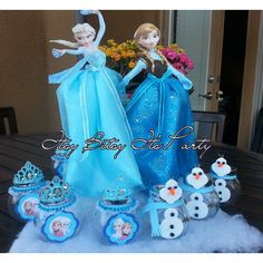 Frozen Centerpieces Elsa and Anna by itsybitsyitsparty on Etsy