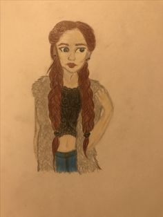 Girl, two braids drawing