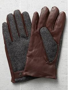 Scotch & soda men's leather tweed gloves #FASHION #Menswear #Winter