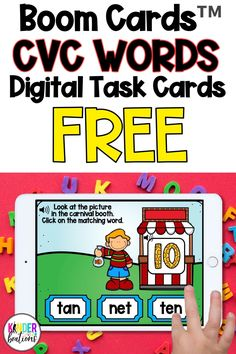 Engage your students and practice CVC words with these FREE carnival themed digital task cards! Boom Cards™ are interactive, self-checking digital task cards that make learning fun! Perfect for kindergarten and first grade students.