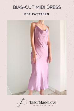 Pdf Sewing Patterns, Dress Patterns, Bias Cut Dress, Diy Dress, Dresses To Sew, Prom Dresses, Cowl Neck Dress, Dress Tutorials, Fashion Sewing