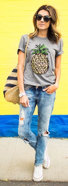 Pineapple Tee Outfit Idea by Hello Fashion
