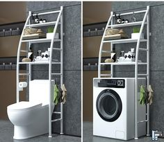 Bathroom Space Saver Storage Shelf Over Toilet With Roll Holder And Towel Hook,Kitchen Washing Machine Storage Tier-in Storage Shelves & Racks from Home & Garden on AliExpress - Day Cheap Storage Shelves, Bathroom Storage Shelves, Storage Rack, Storage Ideas, Pantry Storage, Washing Machine In Kitchen, Shelves Over Toilet, Shower Cubicles, Küchen Design