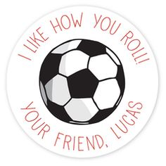 personalized Valentine's Day gift labels, soccer ball: perfect for classroom treats!