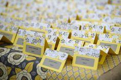 DIY escort cards   DIY place cards   Yellow and gray wedding ideas   Photo Pickerill Creative