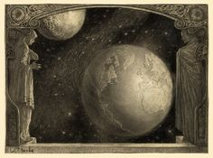 """This illustration by artist Wladyslaw Theodore Benda shows a window opening to a view of the Earth, the Milky Way and the Moon. The image was done in charcoal and originally appeared in the March, 1918, edition of Cosmopolitan along with an article titled """"The Future of the Earth,"""" by Maurice Maeterlinck"""