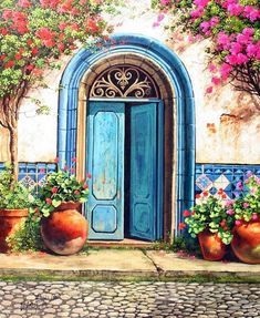 Life In The Mediterranean Means Pots Filled With Flowers, Bougainvillea Over The Doorway, And Pretty Mosaic Tiled Walls. Whatever You Look At Will Be Sunny And Bright, From Archways To Shutters, There'll Be Colours To Delight. Life In The Mediterranean.... What A Beautiful Sight! ~ c.c.c~ Artist: Victor Arriola