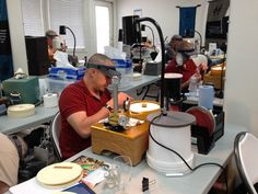 Liam getting a cut on during the International Faceting Academy training event.