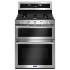 Maytag 30 in. Double Oven Gas Range with True Convection Oven in Fingerprint Resistant Stainless Steel (Silver) Stainless Steel Double Oven, Double Oven Range, Double Ovens, Double Oven Stove, Gas Oven, Microwave Oven, Electric, Oven Cleaning, Shopping