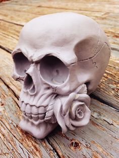 Human Skull With Single Rose, Painted Gothic Skull Statue, Day Of The Dead  Figure. Concrete Garden StatuesGothic ...