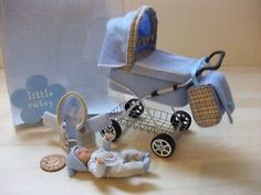 b'ful OOAK baby boy + pram *removable coat* in gift parcel, 1/12, dolls house