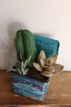 Felt Cactus Arrangement in Vintage Tin by HeartFeltByAviva on Etsy